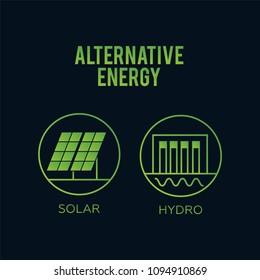 Generation energy types. Renewable alternative, solar and tidal,