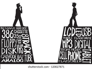 Generation Gap. An older man stands on one side of a chasm with a younger guy standing on the other side. Underneath each person are a list of words representing the technology from their generation.
