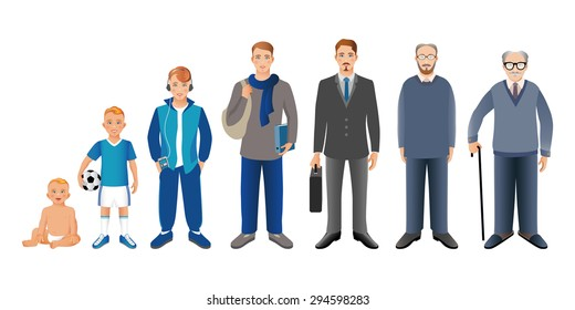 Generation of men from infants to seniors. Baby, child, teenager, student, business men, adult and senior man.  Realistic images isolated on white background. Vector illustration.