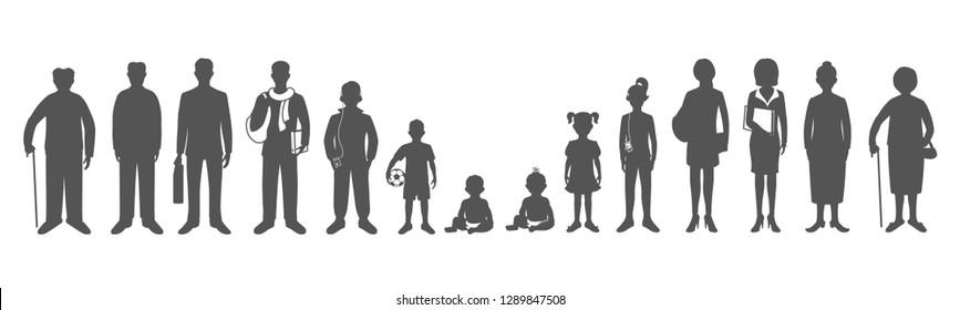 Generation of men and woman from infants to seniors. Baby, child, teenager, student, business men, business woman, adult, senior man and woman.  Realistic images isolated on white background. Vector
