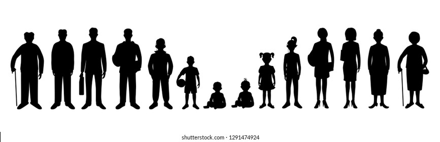 Generation of men and woman from infants to seniors. Baby, child, teenager, student, business men, business woman, adult, senior man and senior woman. Realistic images isolated on white background.
