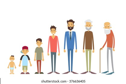 Generation Of Men From Young Infant To Old Senior Age Concept Vector Illustration