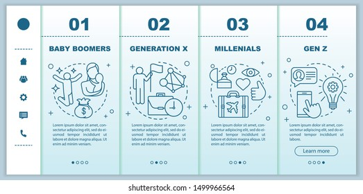 Generation onboarding mobile web pages vector template. Millennials. Responsive smartphone website interface idea with linear illustrations. Webpage walkthrough step screens. Color concept