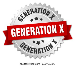 generation x round isolated silver badge