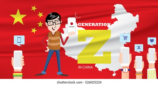 Generation Z in China Vector Illustration