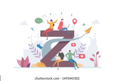 Generation Z Vector Illustration Concept Showing a group of young teen using technology and gadget to communicate, Suitable for landing page, ui, web, App intro card, editorial, flyer, and banner.