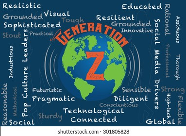 Generation Z - Word cloud characteristics of generation z with a globe