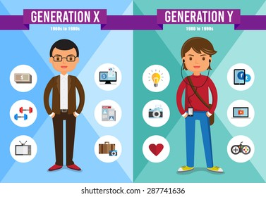 Generations Comparison info graphic, Generation X, Generation Y, cartoon character
