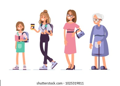 Generations of woman. Different age womens standing together. Flat style vector illustration isolated on white background.