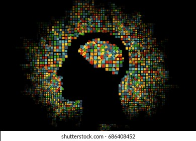 Generative human head shape background. Vector illustration. Concept of artificial intelligence, AI