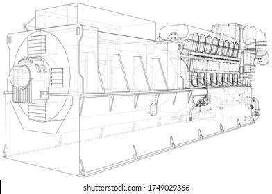 Generator. Diesel- und Gasindustrie-Stromerzeuger. Die Schichten sichtbarer und unsichtbarer Linien sind getrennt. Rahmenlinie für Drahtseile.