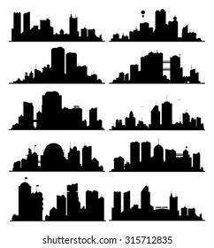 Generic black and white big city skylines
