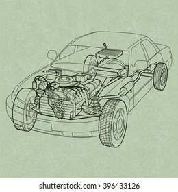 Car blueprint stock vectors images vector art shutterstock generic car diagram a ghosting or cross section of a car showing the engine malvernweather Images