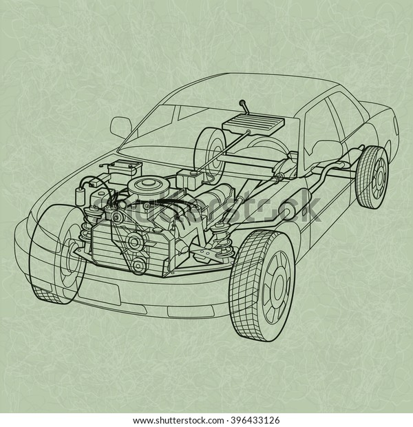 Generic Car Diagram Ghosting Cross Section Stock Vector (Royalty Free)  396433126Shutterstock