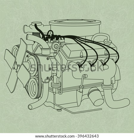 generic car engine diagram on green stock vector royalty free rh shutterstock com
