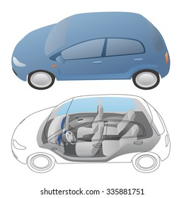 generic car exterior and interior, vector illustration