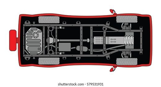 Generic car rolling chassis, suspension, details and frame. Vector flat illustration isolated on white background
