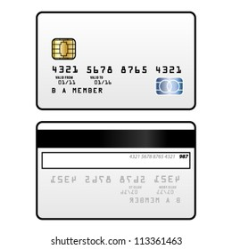 A generic credit card with a smart chip and a hologram. Front and back.