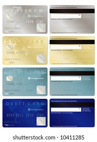 Generic credit and debit cards, front and back.