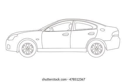 Generic four door sedan car side view, line drawing illustration