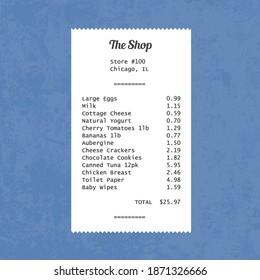 Generic grocery store receipt. Vector food prices shop receipt.