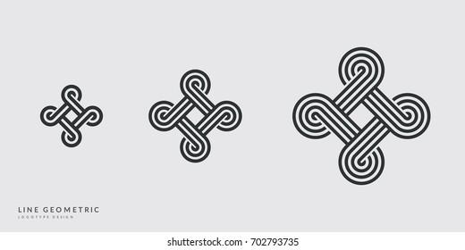 Generic line art symbols set. Minimal logo design.  Eps10 vector.