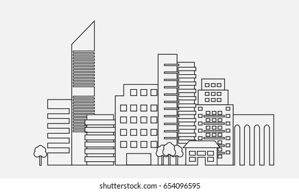 Generic modern city line vector. City skyline linear design. Cityscape line art illustration. Outline skyscrapers.