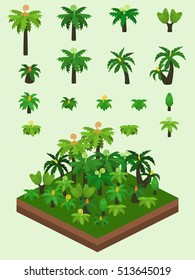 Generic prehistoric plants set for video game-type isometric prehistoric forest scene. Simplified plants included tree ferns, bush ferns, various cycads, and Sigillaria tree.