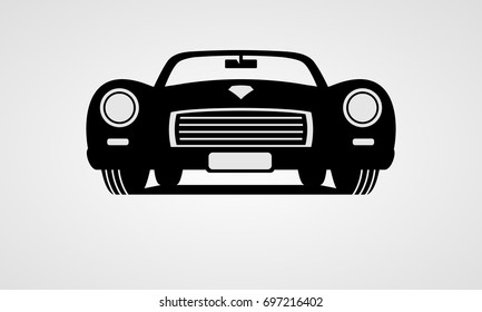 Generic retro car silhouette front view
