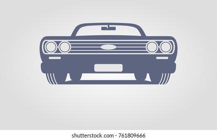 Generic retro car silhouette front view