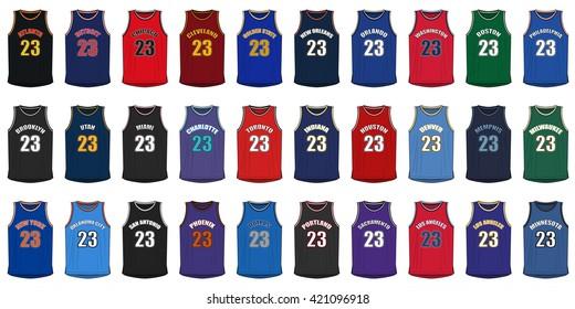 1baadbad4c1 Generic Shirts of American Basketball Cities. Basketball uniform ...