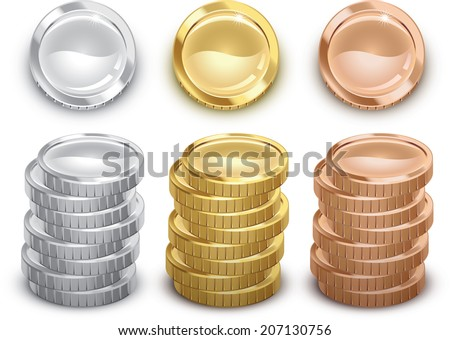 Gold And Copper : Generic silver gold copper coins stock vector royalty free