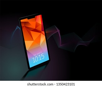 Generic smartphone on a black background with copyspace. Eps 10 vector