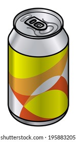 A generic unlabelled aluminium drink can with an yellow abstract pattern.