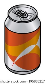 A generic unlabelled aluminium drink can with an orange abstract pattern.