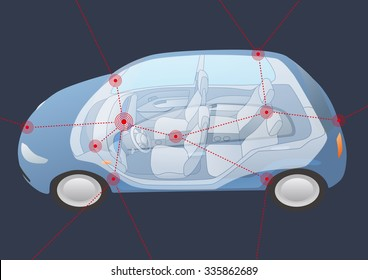 generic vehicle body and wireless network, vector illustration