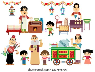 Generous Ramadan Kareem greeting card  isolated vector illustration background wallpaper , Arabic sweets  Kunafa qatayef  ataif Maker boy and girl carrying  lanterns Beans Cart Drummer mesaharaty