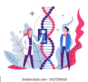 Genetic code examination DNA lab equipment and scientists vector man and woman in robes gene science laboratory and biotechnology development biological material modern technology device research