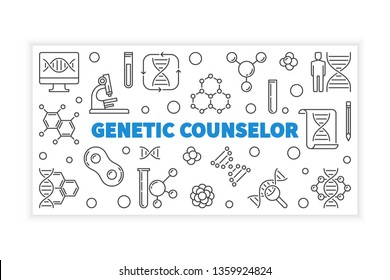 Genetic Counselor concept outline horizontal banner. Vector linear illustration