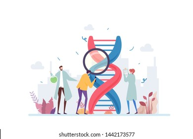 Genetic DNA Science Vector Illustration Concept Showing a group of scientist investigating DNA, Suitable for landing page, ui, web, App intro card, editorial, flyer, and banner.