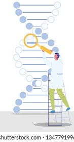 Genetic Engineer Character Vector Illustration. DNA, Genetic Sign. Scientist, Biologist. Man with Magnifier Looking at Molecule. Helix, Spiral. Molecular Biology, Medical Researches Cartoon Clipart