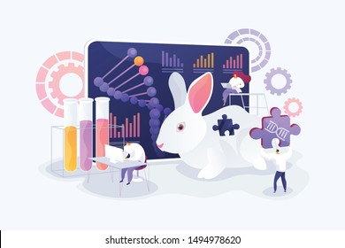 Genetic engineering. Biological research. Genetically modified animals, Genetically modified animal experiments, animals with genes knocked out concept. Vector isolated concept creative illustration