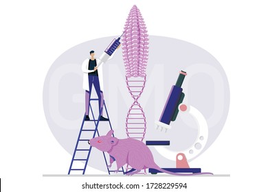 Genetic engineering. Genetically modified foods, GM foods. Food additives. Genetically engineered foods concept. DNA recombination.  Flat vector illustration