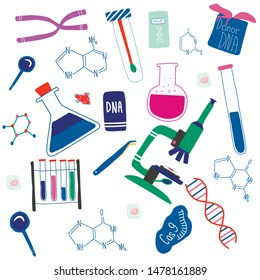 Genetic engineering and genome or gene sequencing set of isolated elements: helix DNA, donor DNA, microscope, chromosome, test tubes, cells, cas9 RNA, nucleotides, books. Colorful doodle vector.