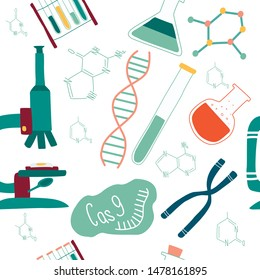 Genetic engineering and genome or gene sequencing vector seamless pattern of isolated elements: helix DNA, donor DNA, microscope, chromosome, test tubes, cells, cas9 RNA, nucleotides