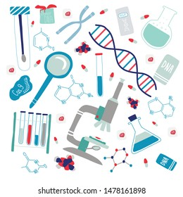 Genetic engineering and genome or gene sequencing set of isolated elements: helix DNA, donor DNA, microscope, chromosome, test tubes, cells, cas9 RNA, nucleotides, books. Colorful hand drawn vector.