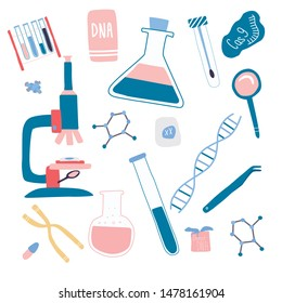 Genetic engineering and genome or gene sequencing set of isolated elements: helix DNA, donor DNA, microscope, chromosome, test tubes, cells, cas9 RNA, nucleotides, books. Flat doodle vector.