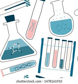 Genetic engineering and genome or gene sequencing seamless pattern with test tubes, cells, nucleotides, chromosome. Colorful hand drawn vector illustration of isolated elements.