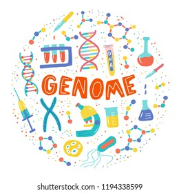 Genetic Engineering. Genome research. Genome sequencing. Helix DNA, microscope, chromosome, test tubes, DNA analysis. A set of elements on a medical theme for a poster, article, banner, advertising.