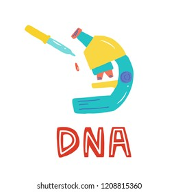 Genetic Engineering. Genome research. Genome sequencing. Helix DNA, microscope, chromosome, test tubes, DNA analysis. Medical theme for a poster, article, banner, advertising. Vector illustration